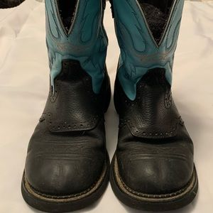 Women's 10 Justin Gypsy turquoise/blue and black